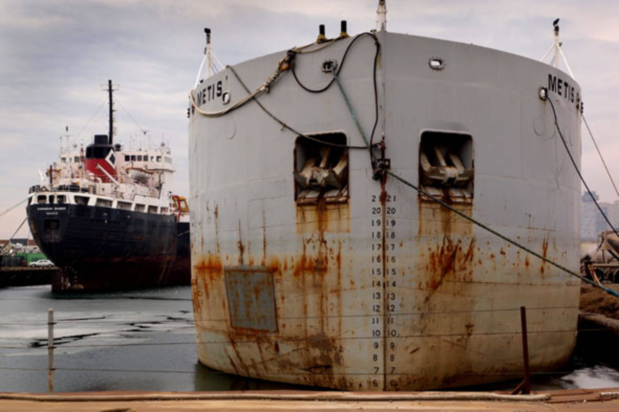 Ships at dockside near Polson Pier