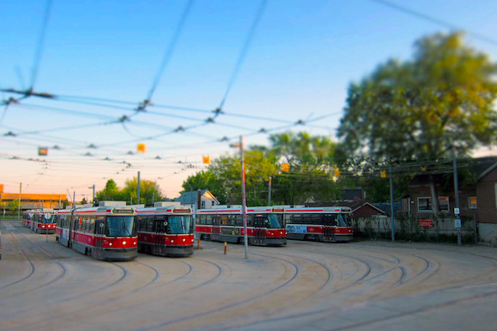 streetcars greenwood yard morning