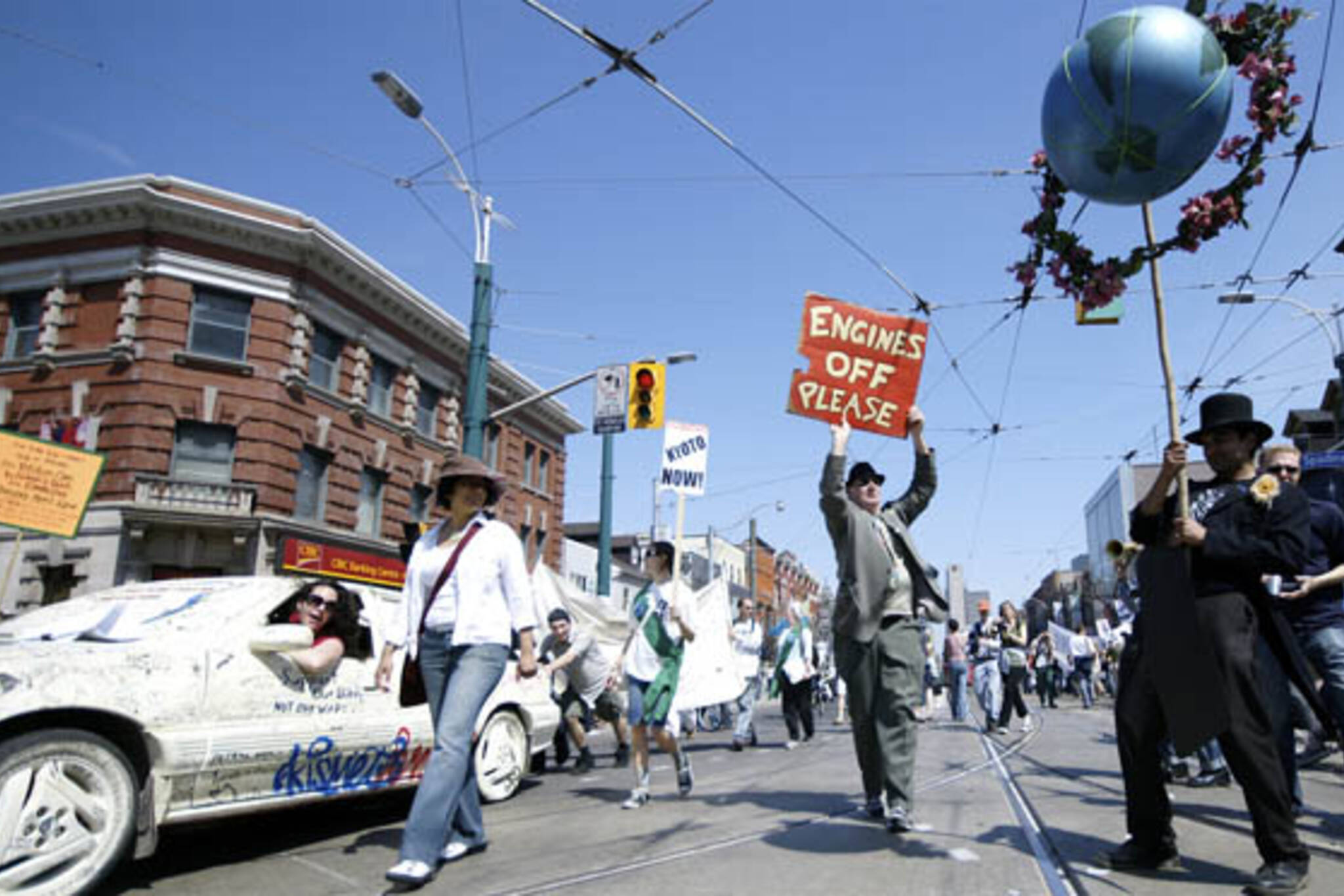 Streets Are For People! celebrate Earth Day in the Queen St. W. and Spadina intersection in Toronto