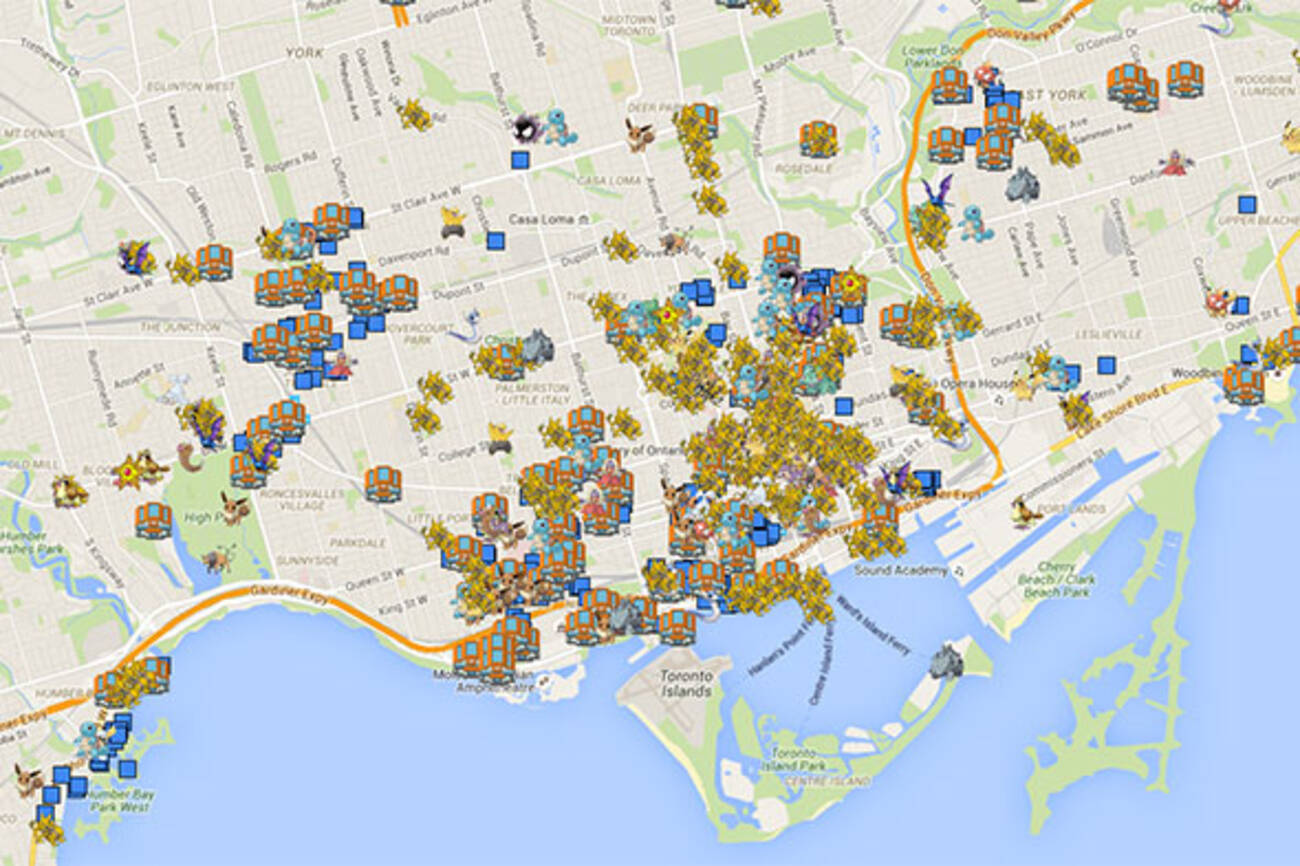 . map of pokemon go locations in toronto