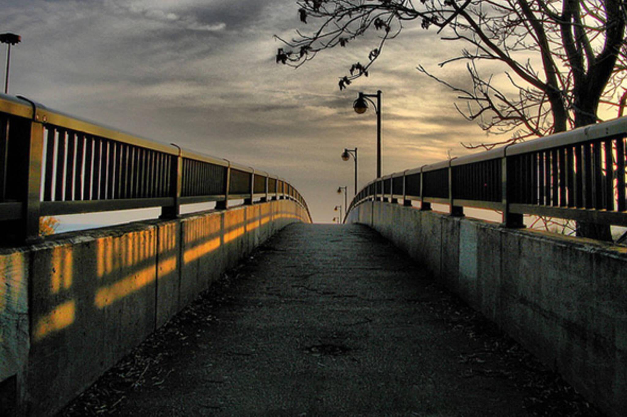 bridge walk sunset