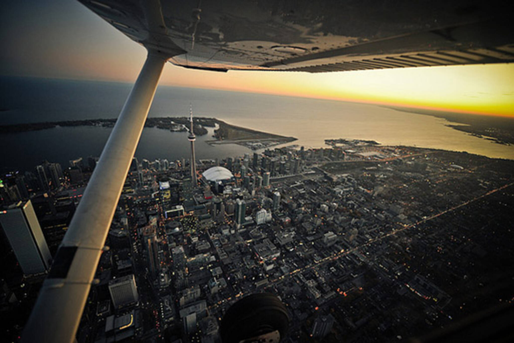 aerial, toronto, skyline