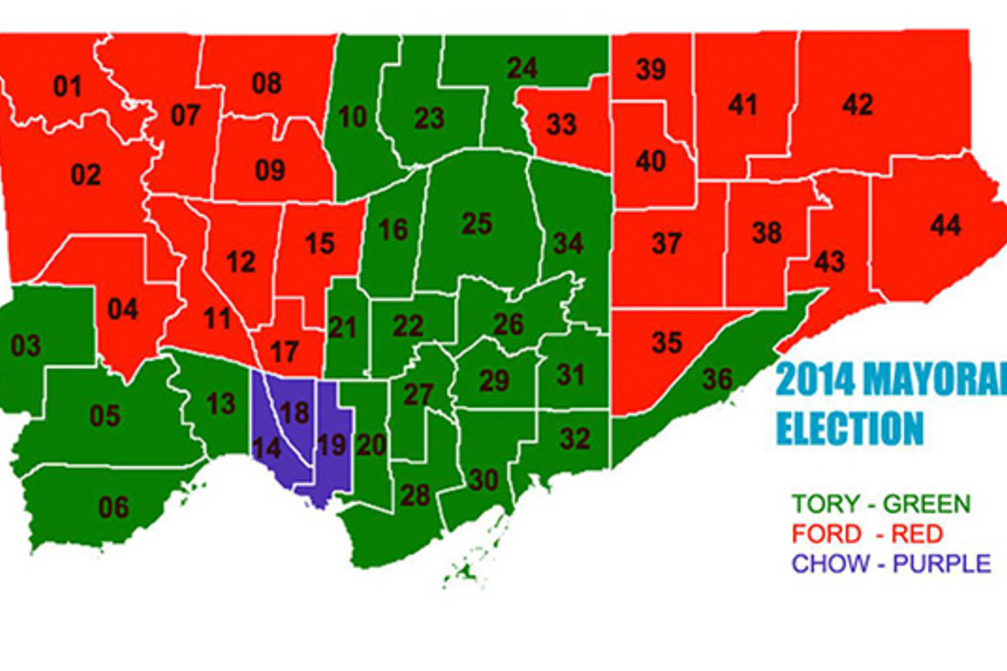 Toronto vote map election