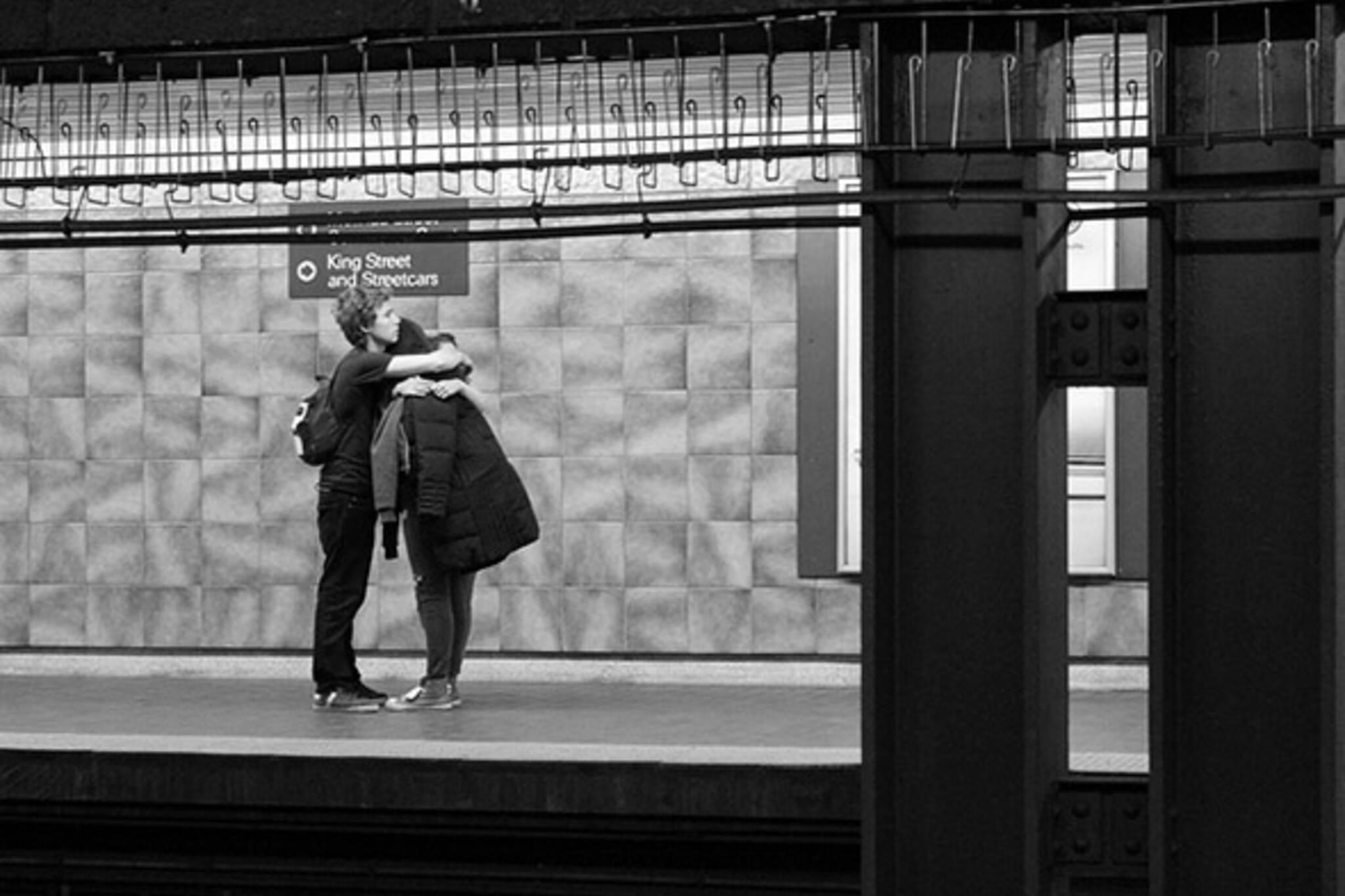 subway, station, hug