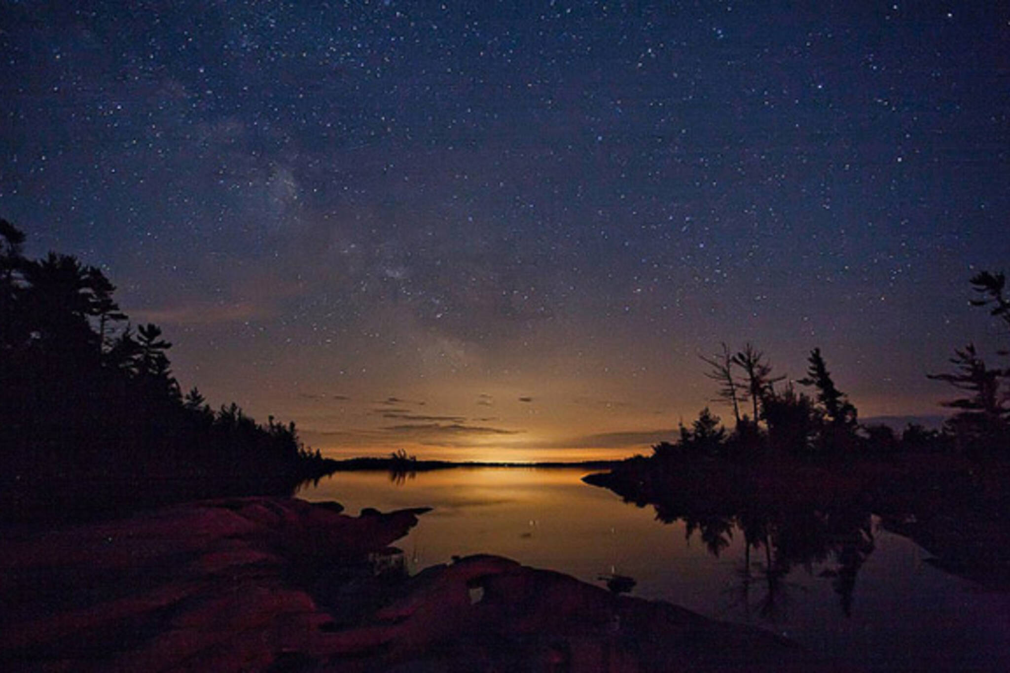 park, stars, night