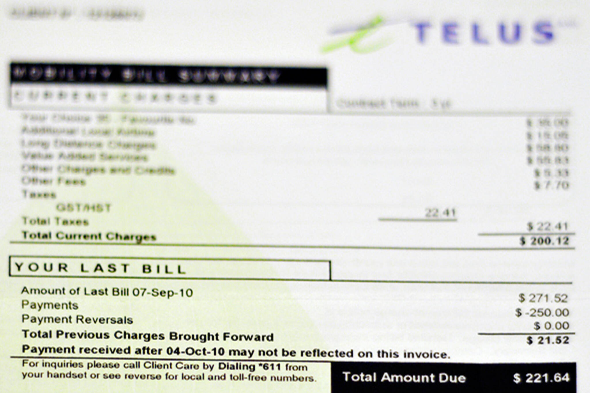 cell phone bill