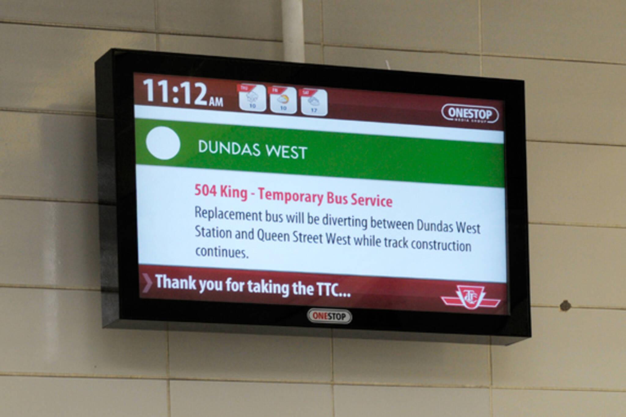 TTC Subway Information Screen