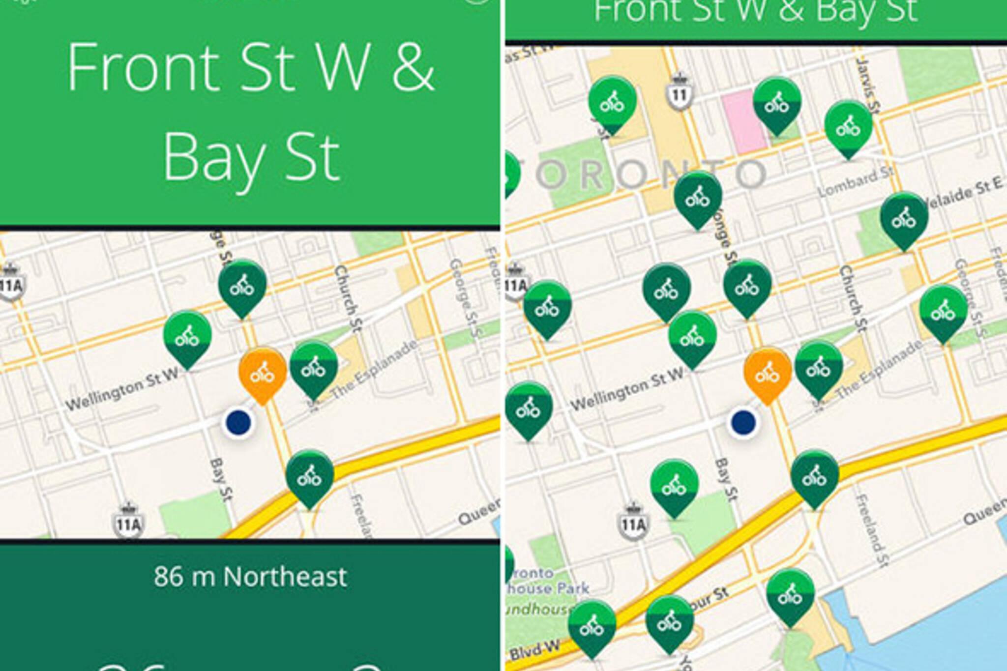 Toronto bike share app