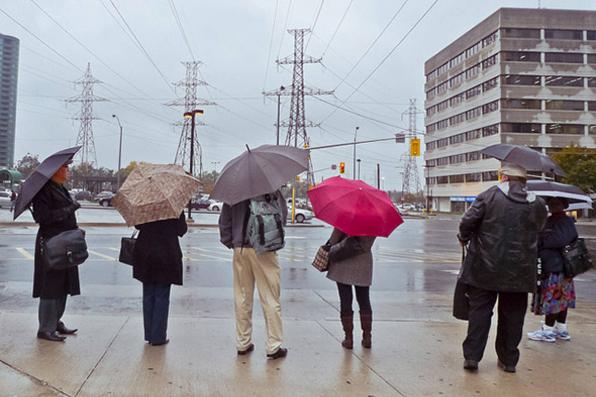 umbrella, rain, waiting