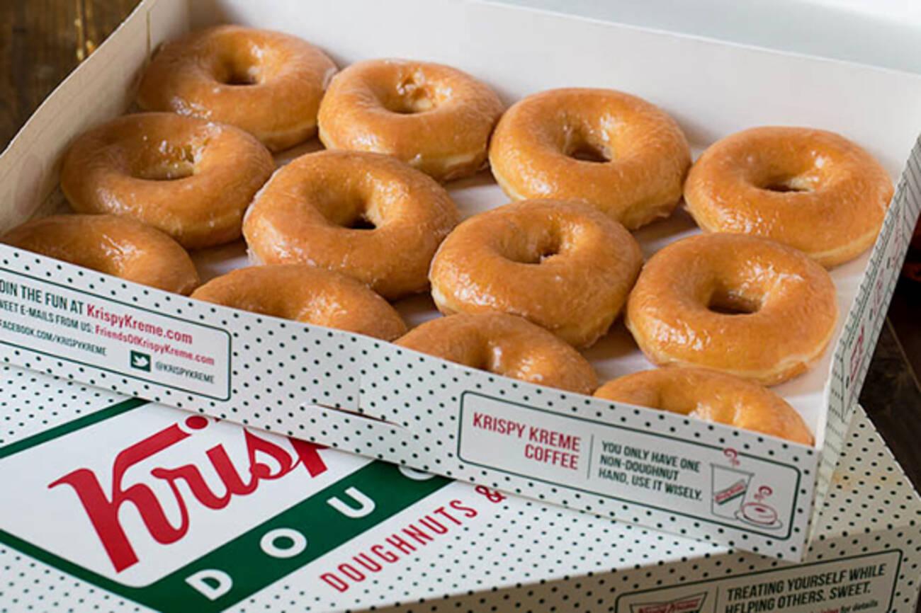 krispy kreme is giving away free donuts tomorrow. Black Bedroom Furniture Sets. Home Design Ideas
