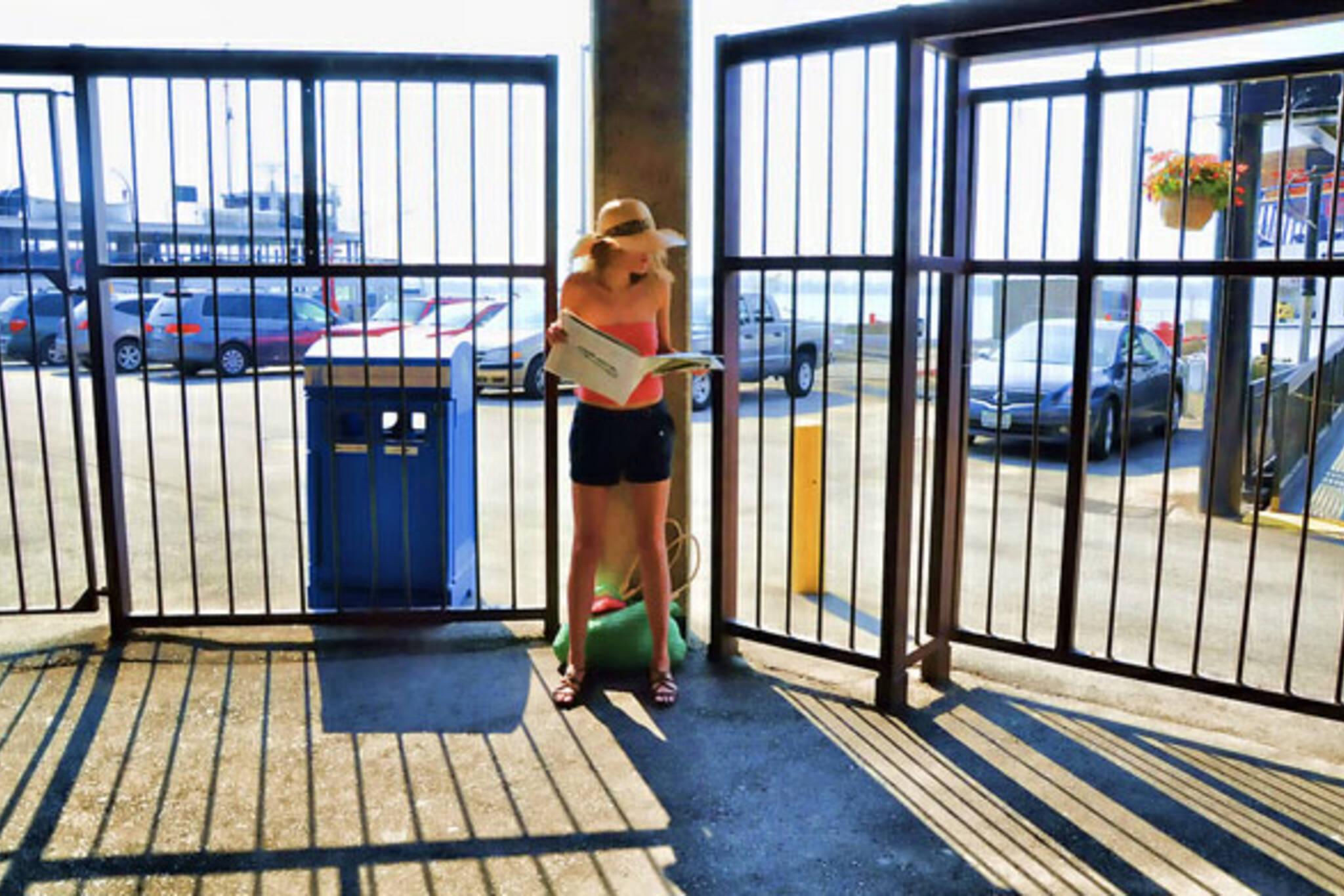 toronto ferry dock girl paper