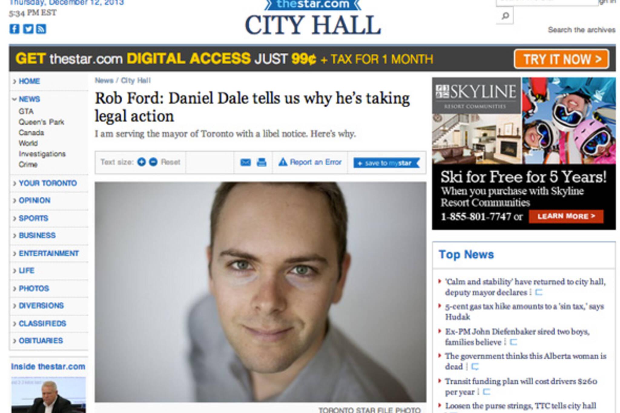 Daniel Dale Sue Rob Ford