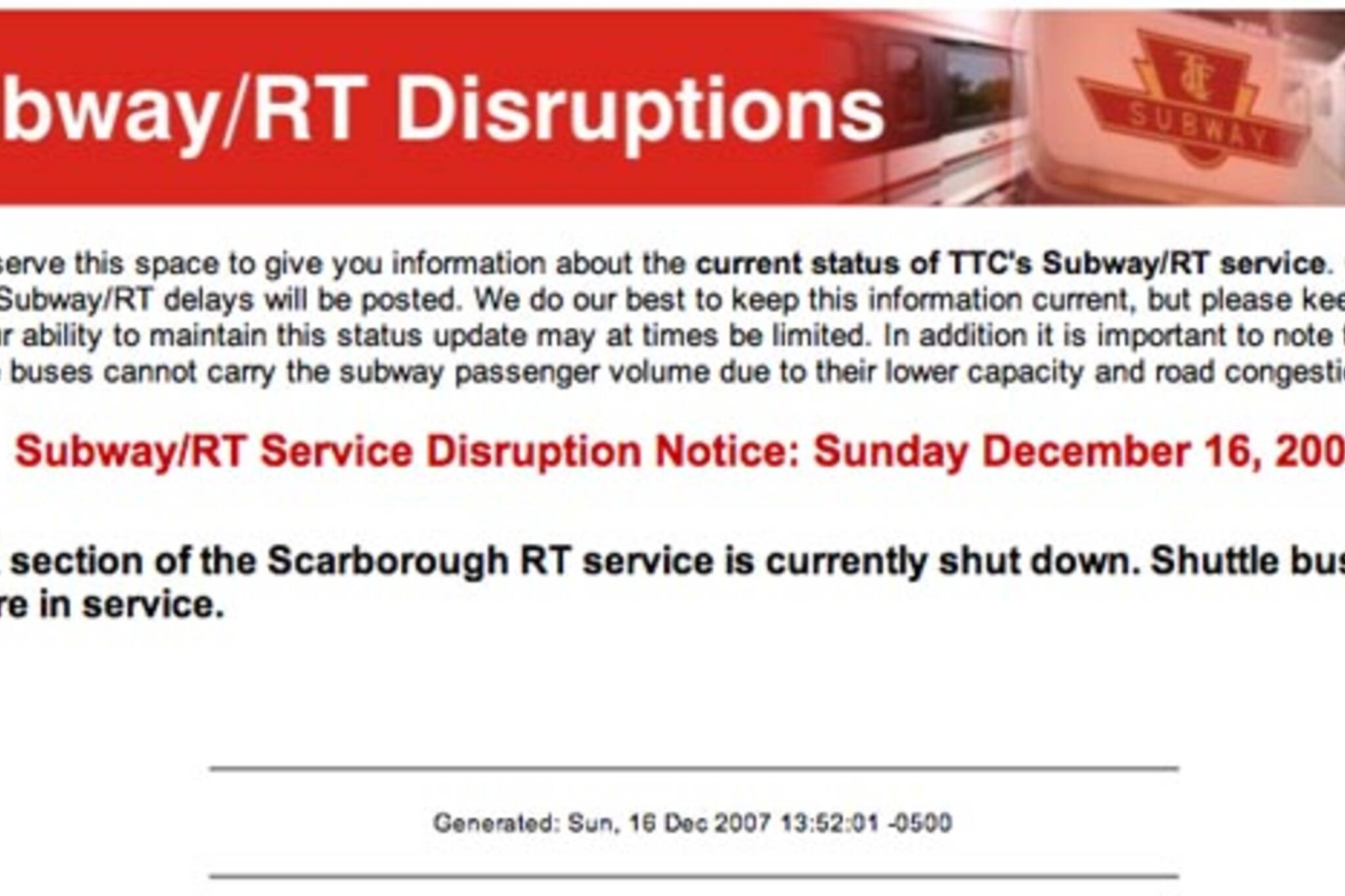 The TTC is not working, but the status page is