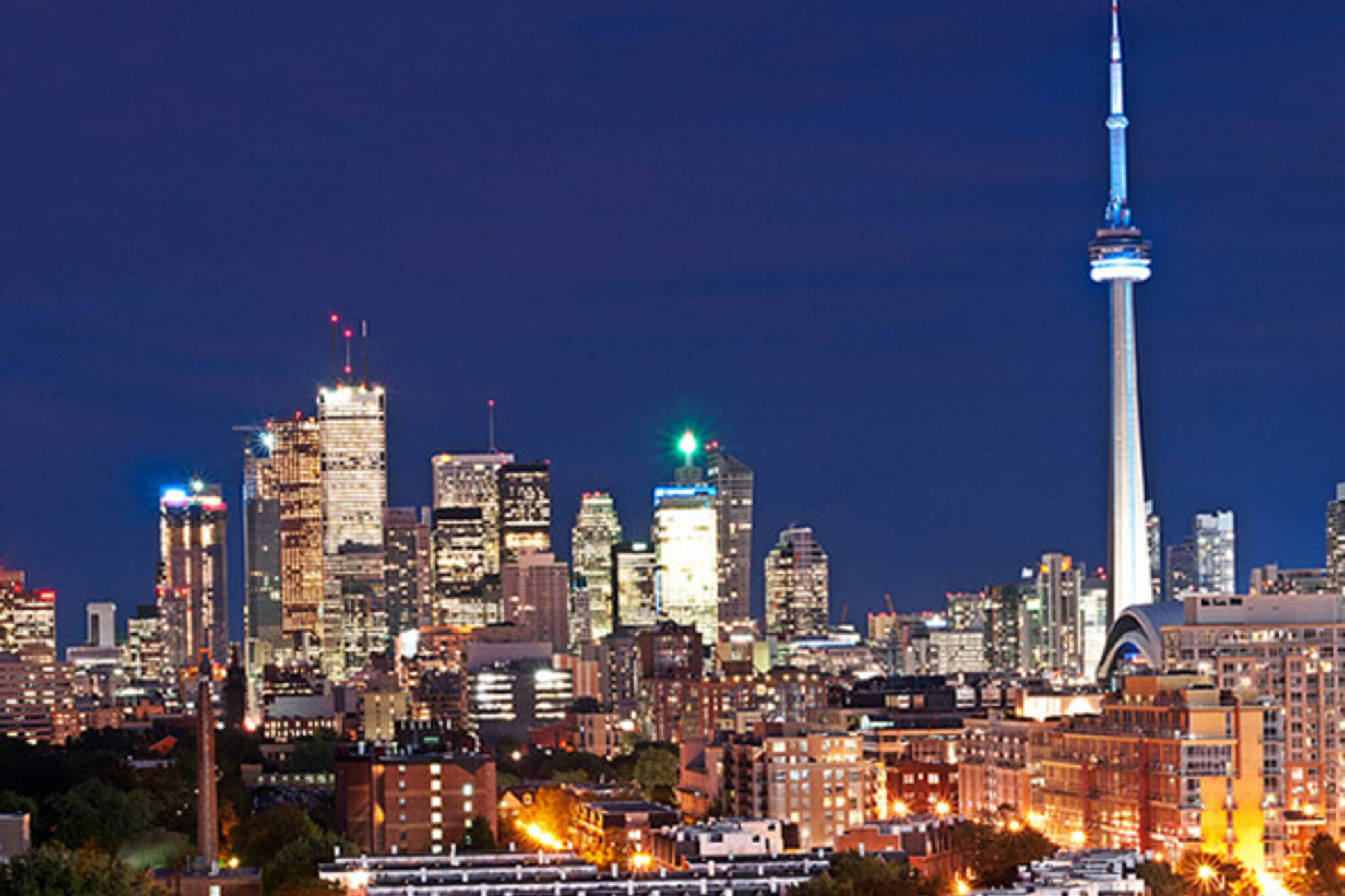 toronto, night, skyline