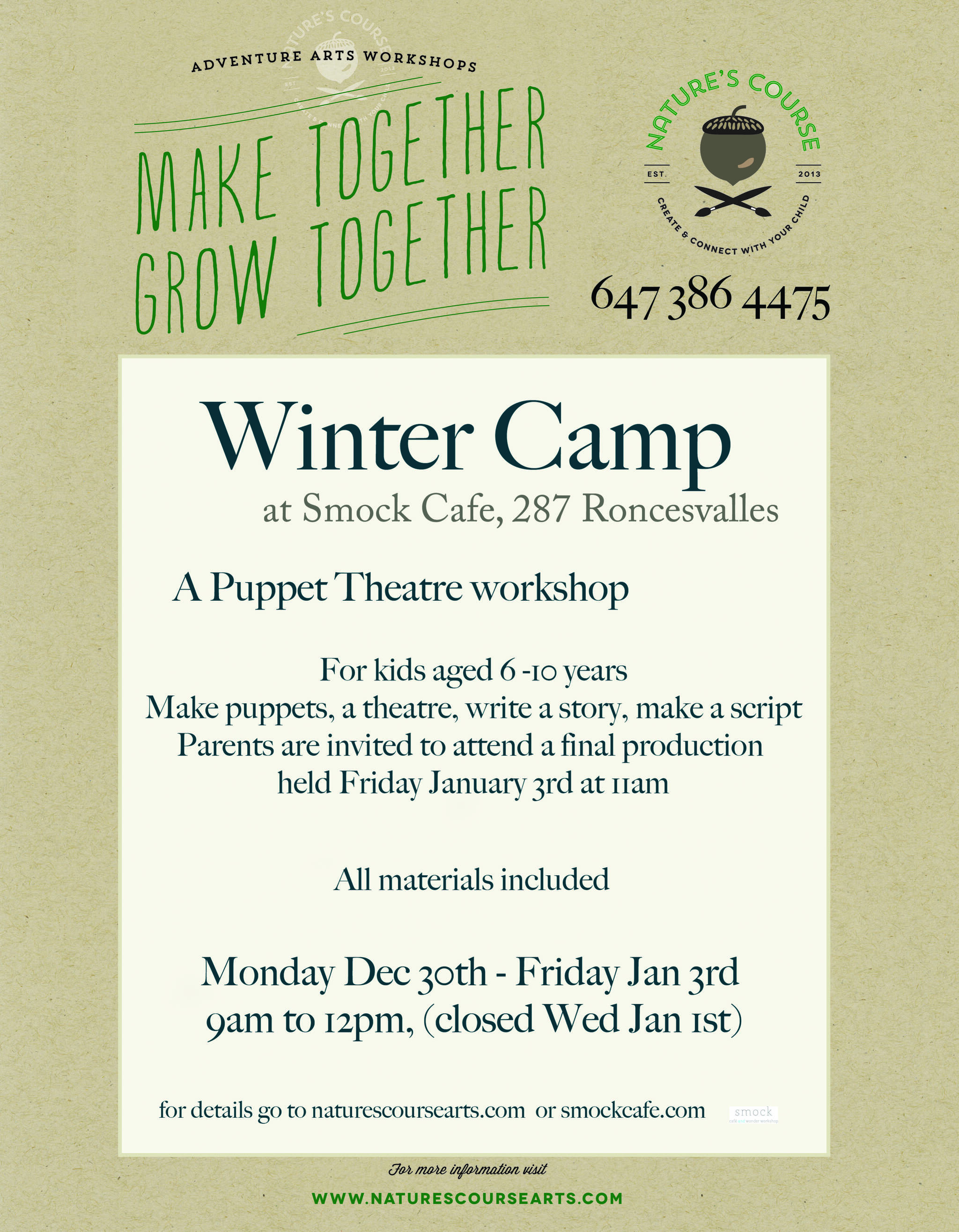 Puppet Theatre Winter Camp 9AM - 12PM