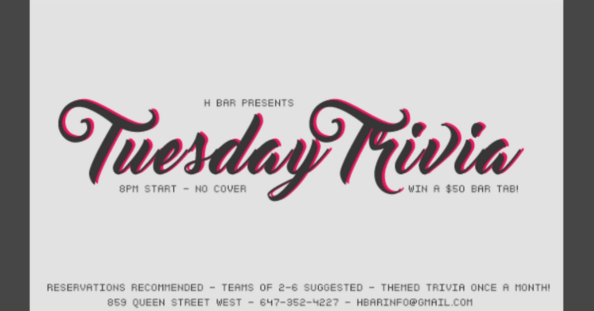 Tuesday Trivia H Bar