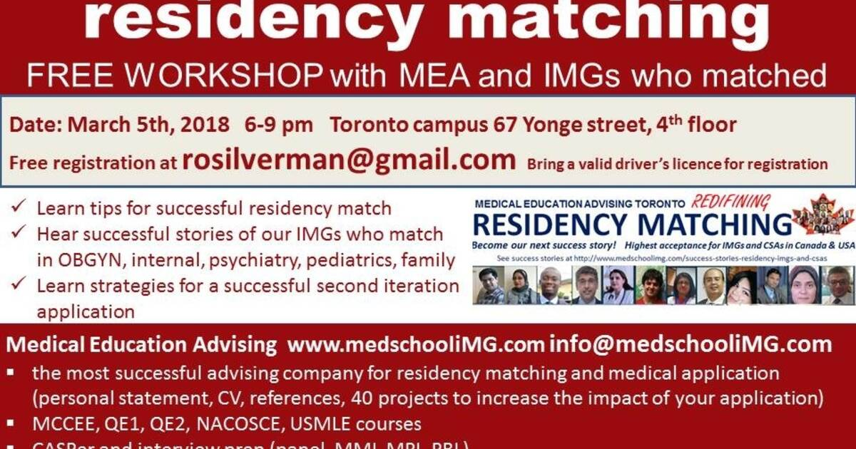 Tips for IMG residency matching CaRMS