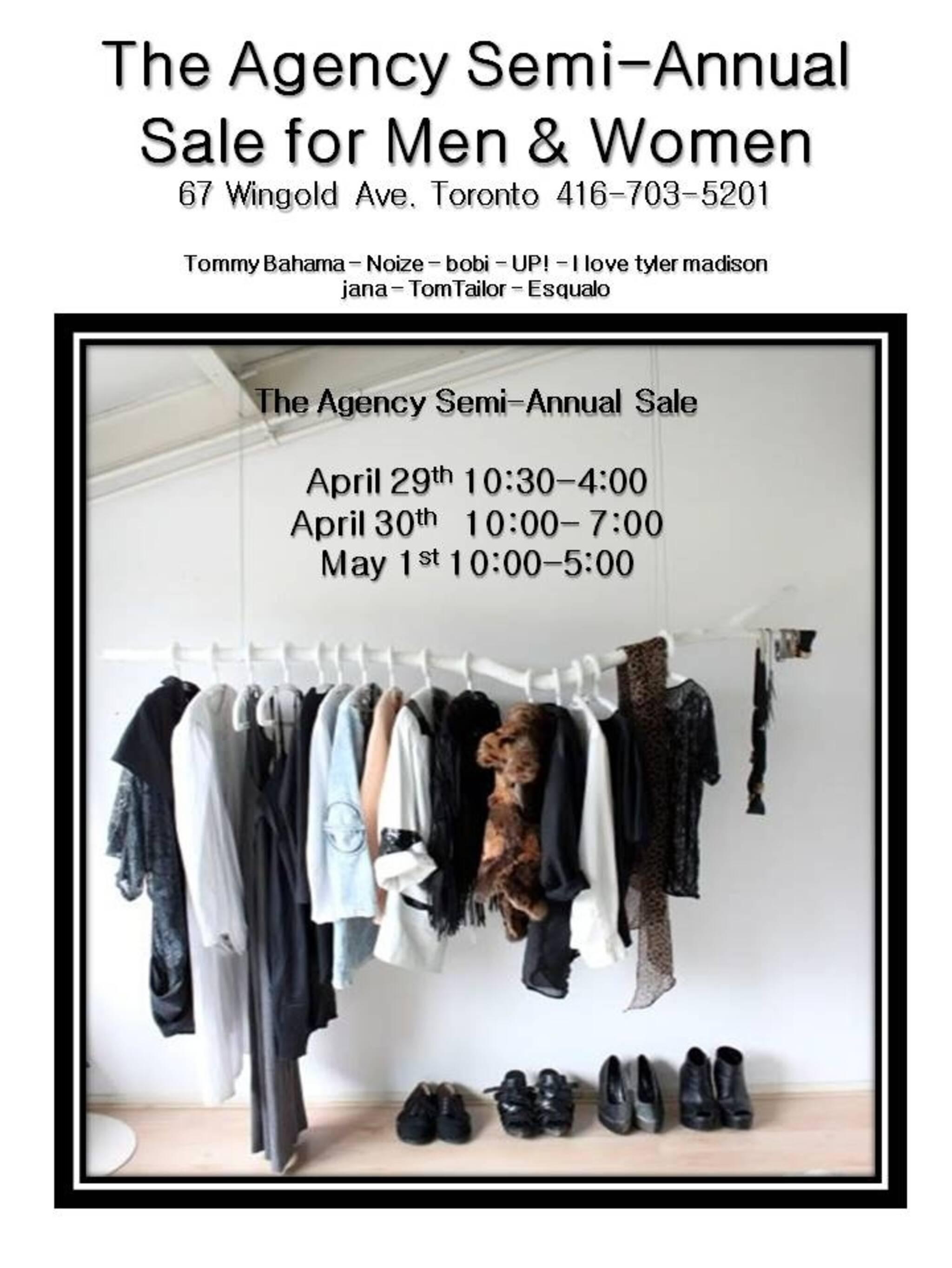 646bc7cda Semi Annual Sample Sale - Men s   Ladies   The Agency