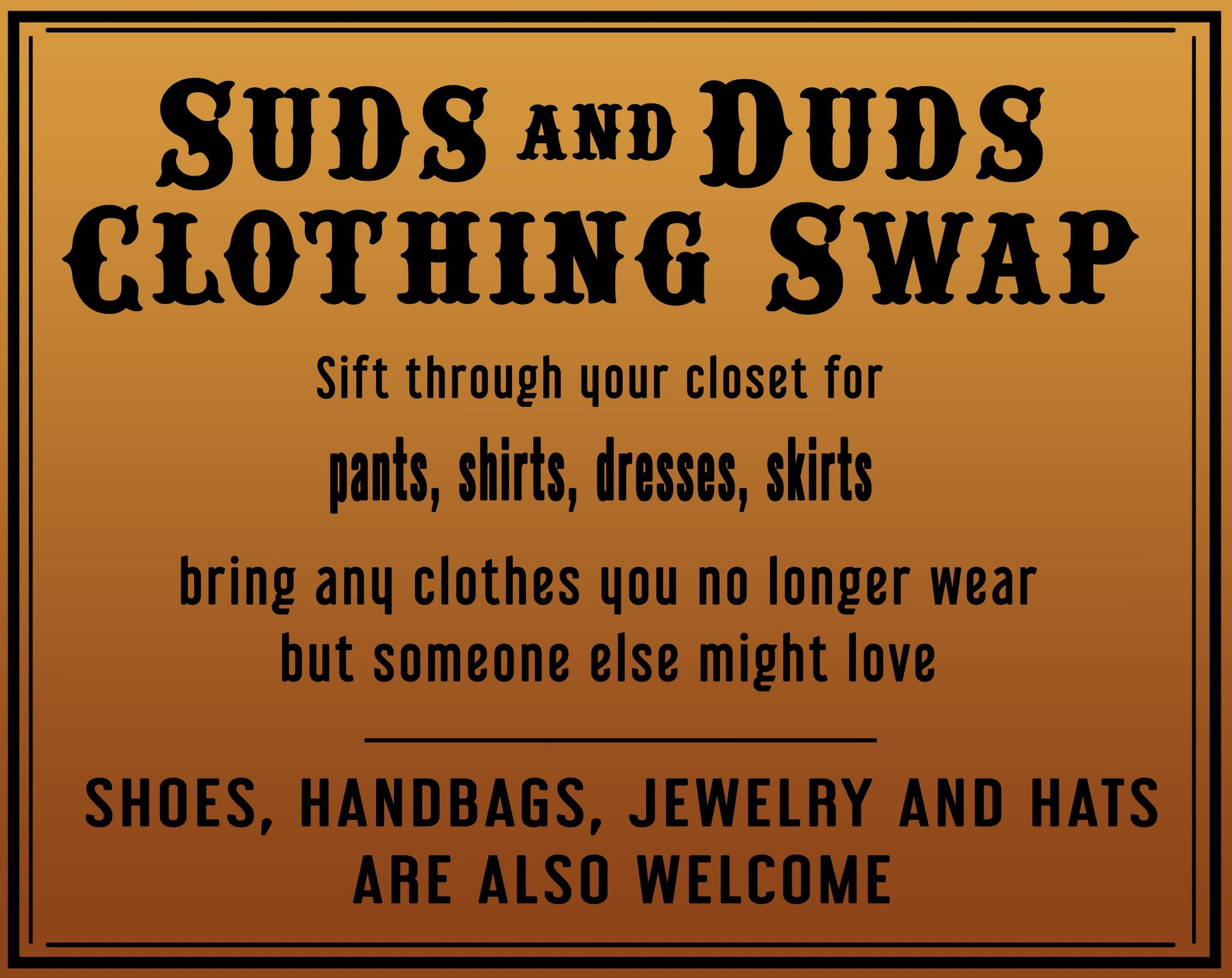 Suds and Duds - Women's Clothing Swap