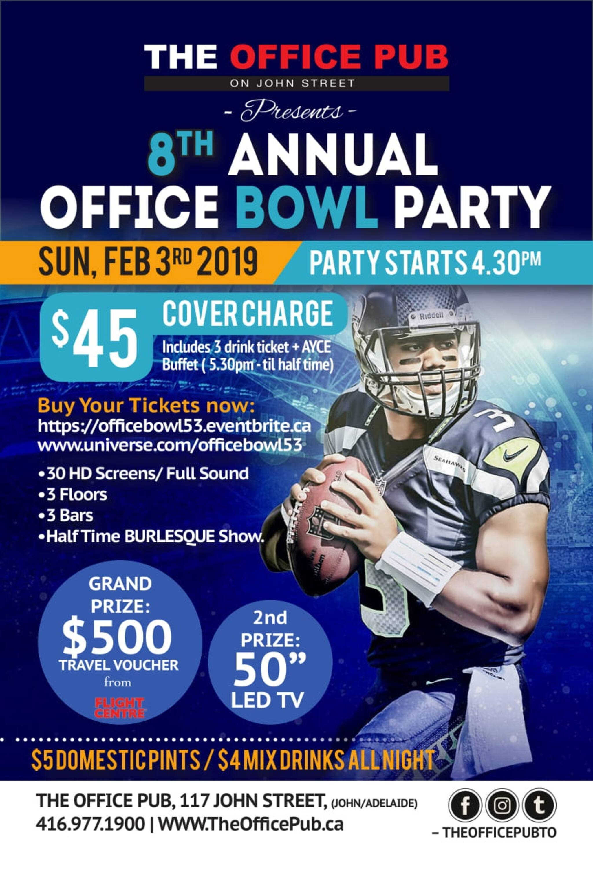 8th annual super bowl 2019 at the office pub on john street. Black Bedroom Furniture Sets. Home Design Ideas