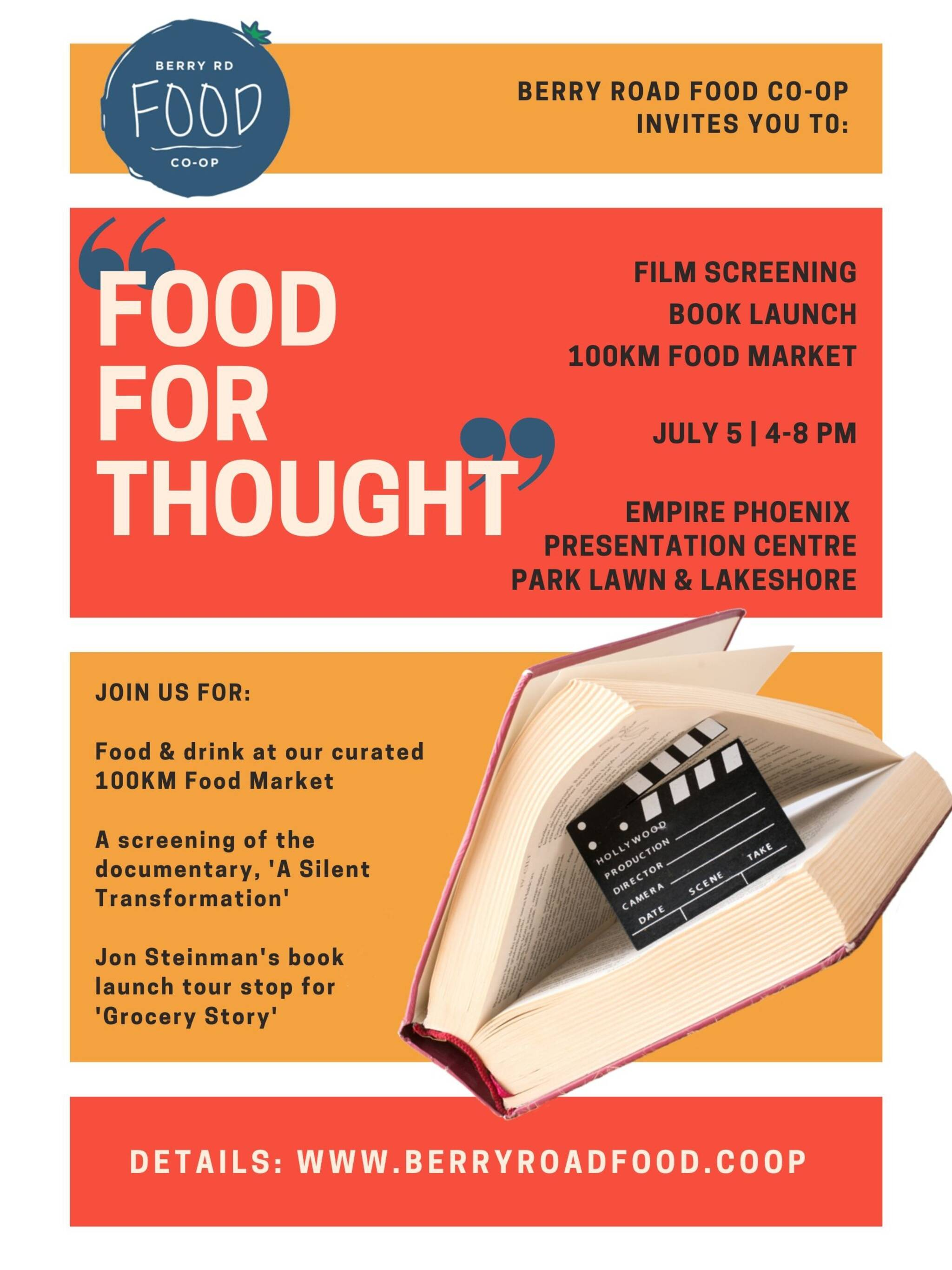 Food for Thought' Film, Book & Market Friday by Berry Road Food Co-op
