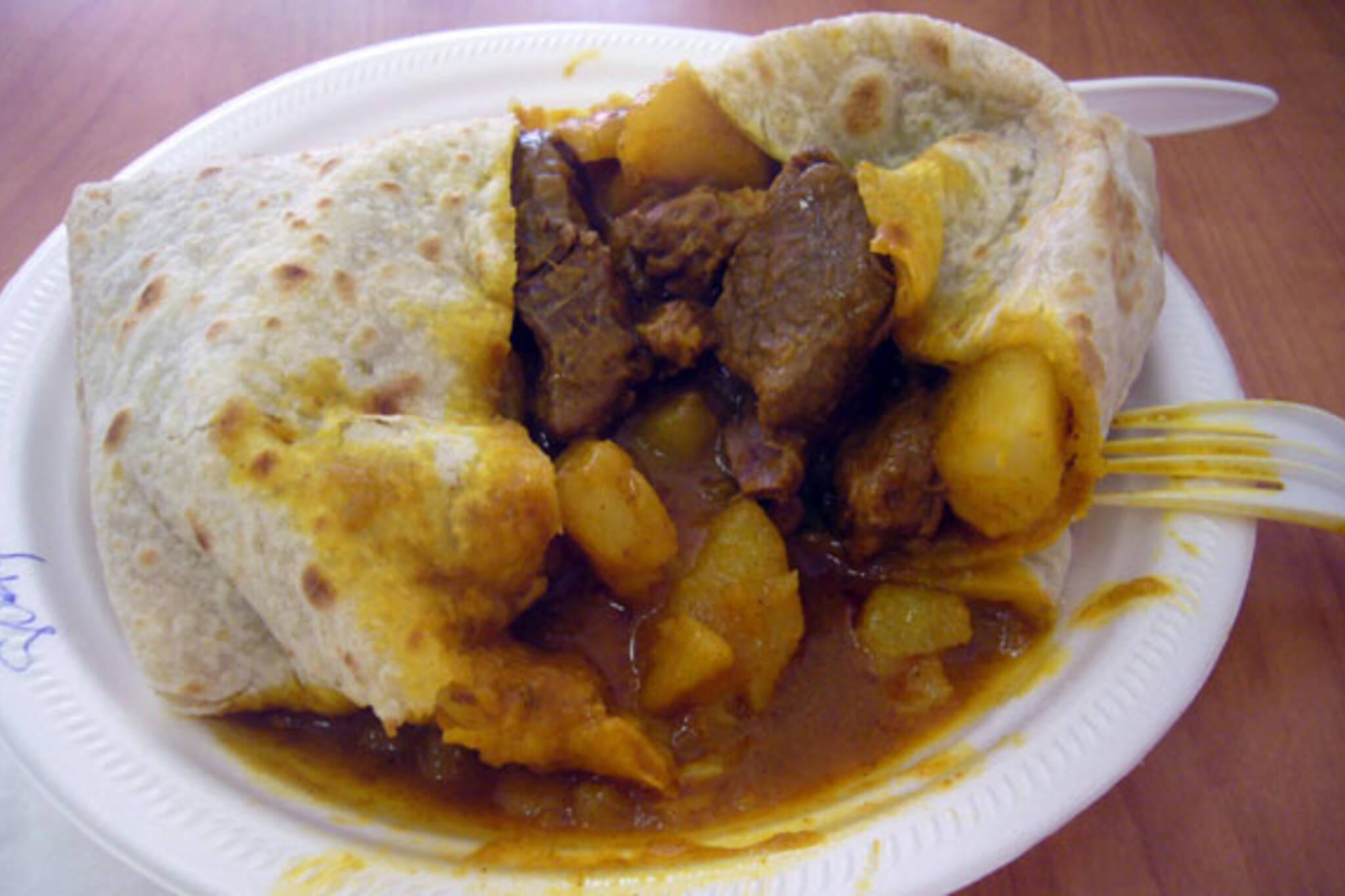 Goat Potato Okra Roti