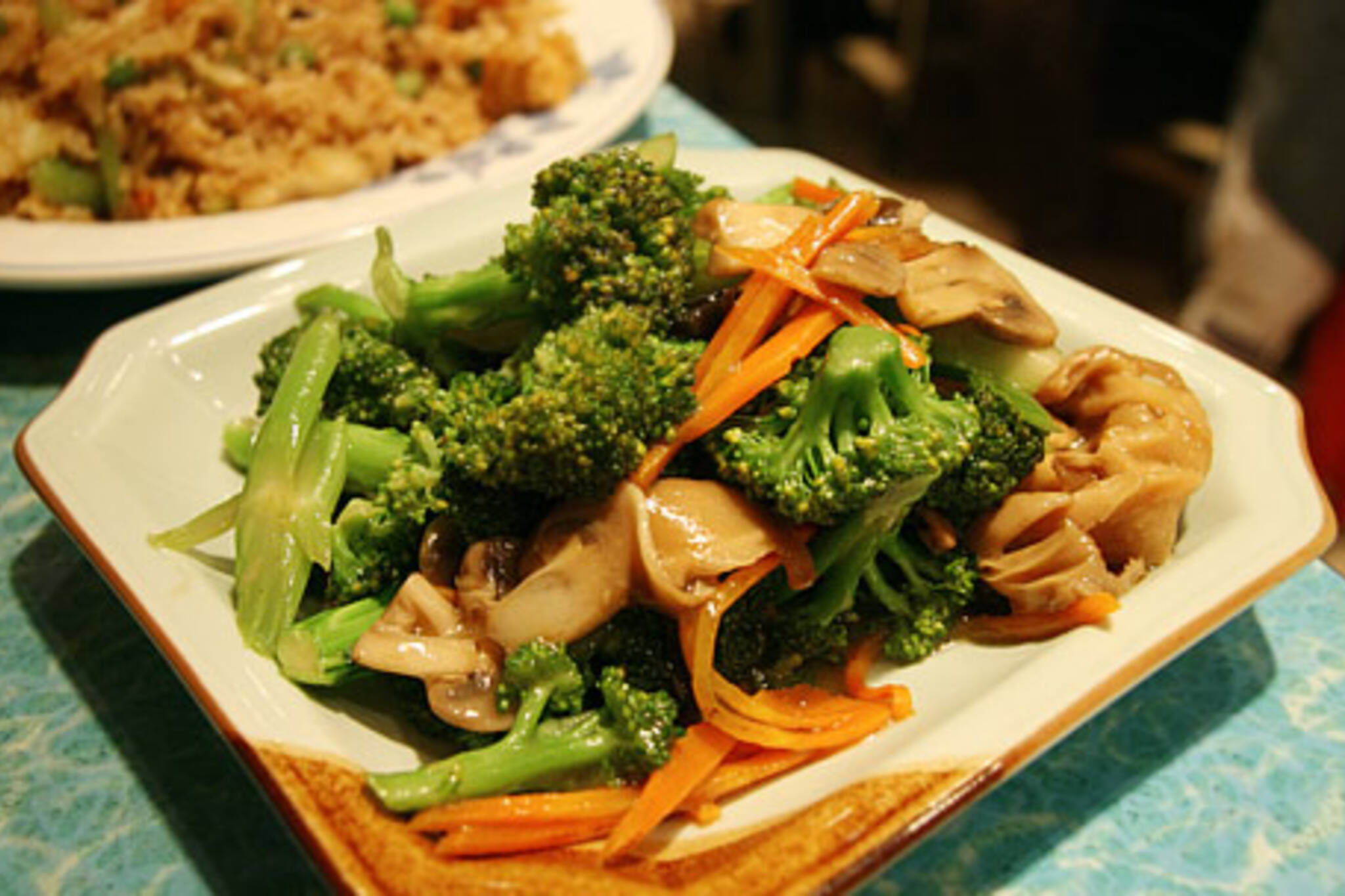 Broccoli and 3 Mushrooms at Cafe 668