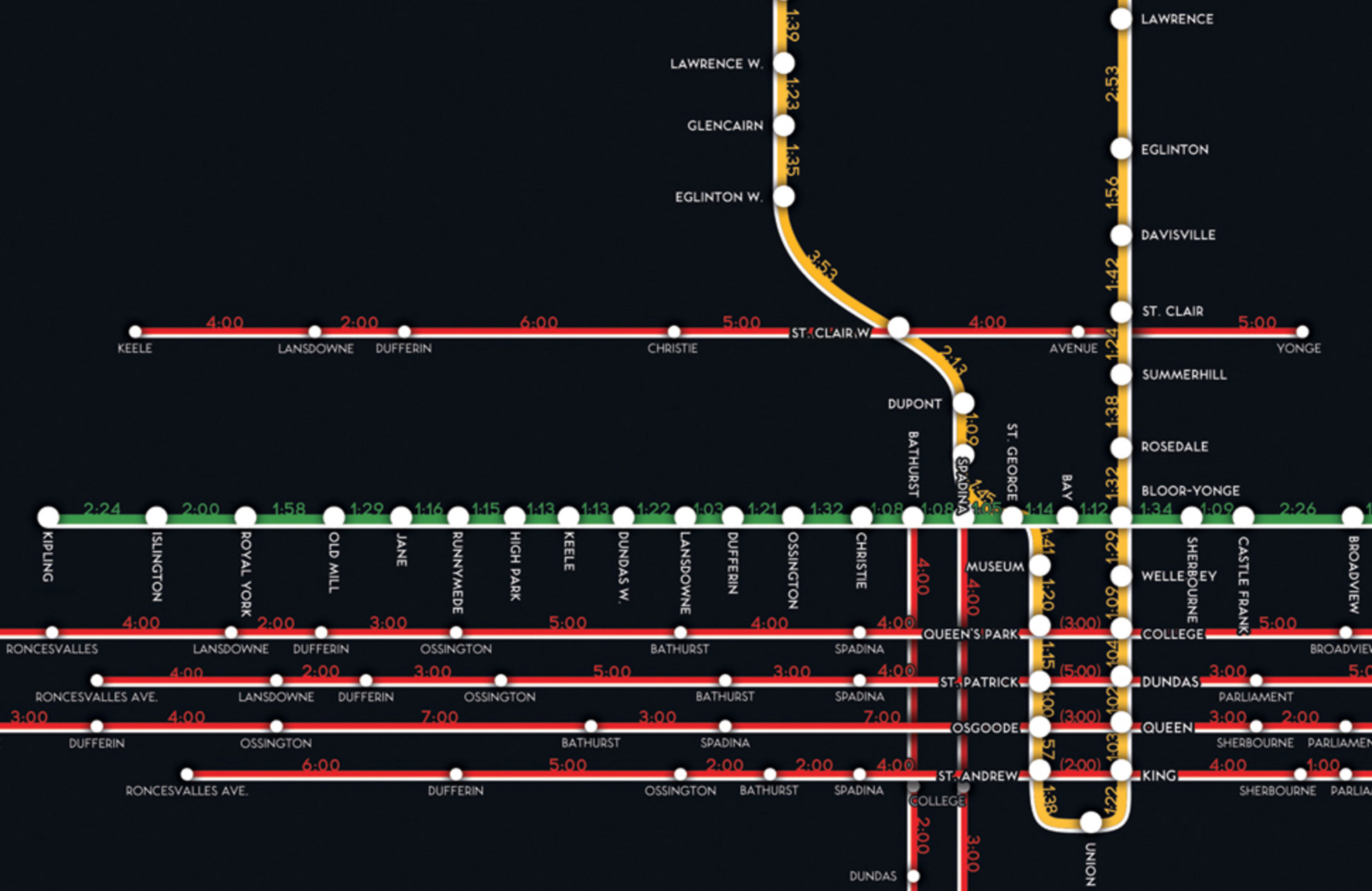 ttc travel time map