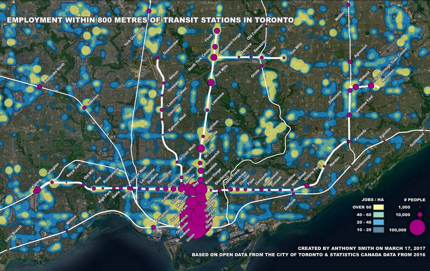 ttc employment density map