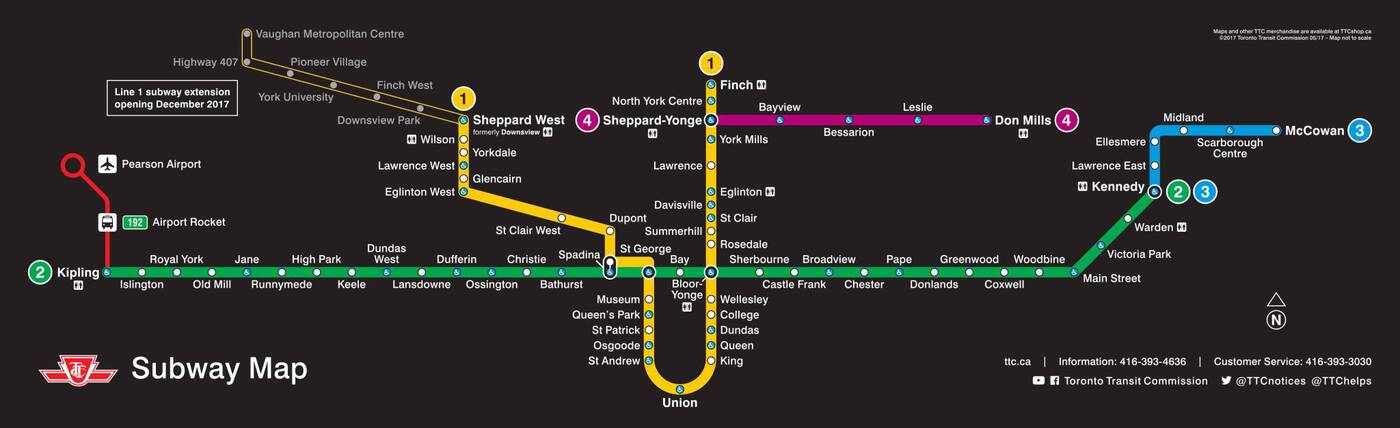 Toronto Subway Map Print.The Ttc Shows Off New Subway Route Map