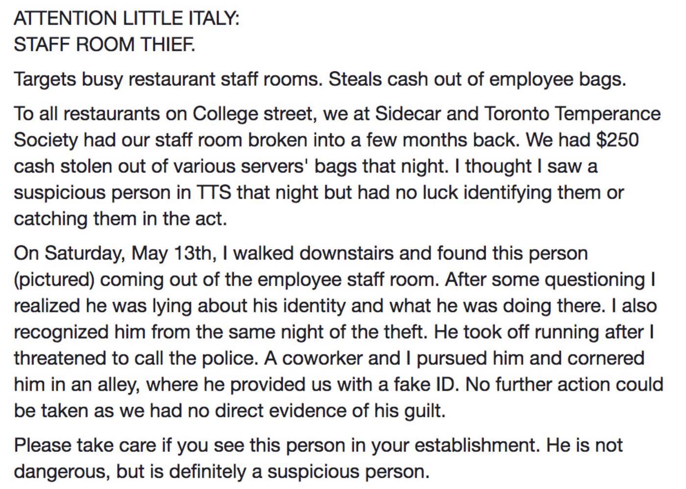 restaurant thief toronto
