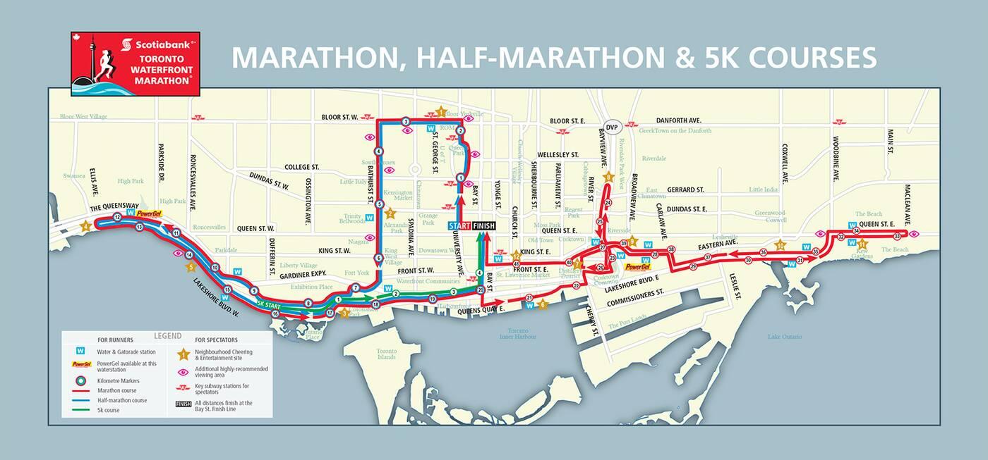 Toronto Waterfront Marathon Map
