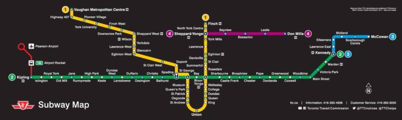 Toronto Subway Map.This Is What The New Ttc Subway Map Looks Like