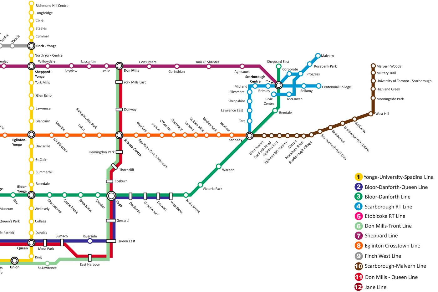 Fantasy Toronto Subway Map.New Ttc Fantasy Map Is Every Planned Line That Was Never Built