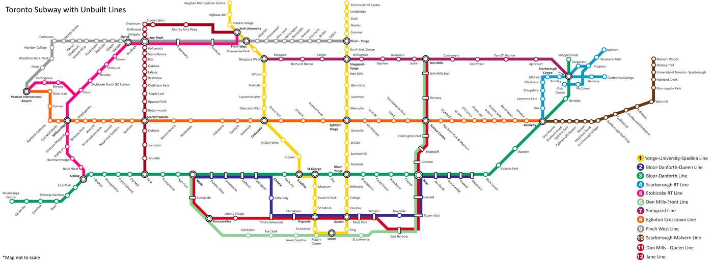 Number 7 Subway Map.New Ttc Fantasy Map Is Every Planned Line That Was Never Built