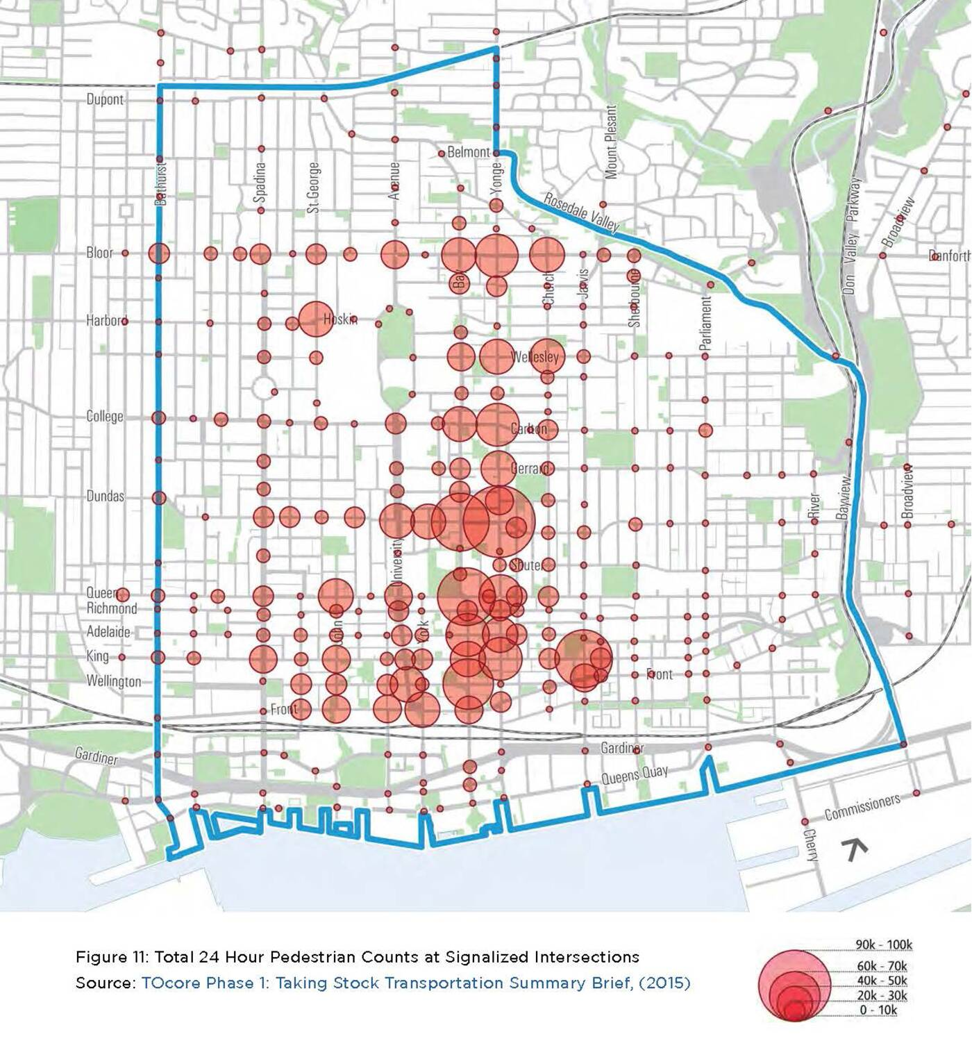 Map shows busiest pedestrian intersections in downtown Toronto on