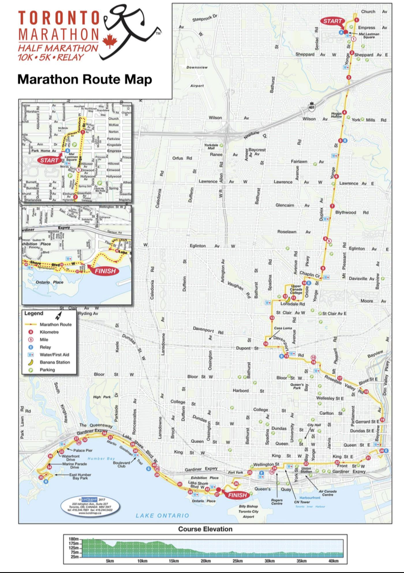 Toronto Marathon Route 2018