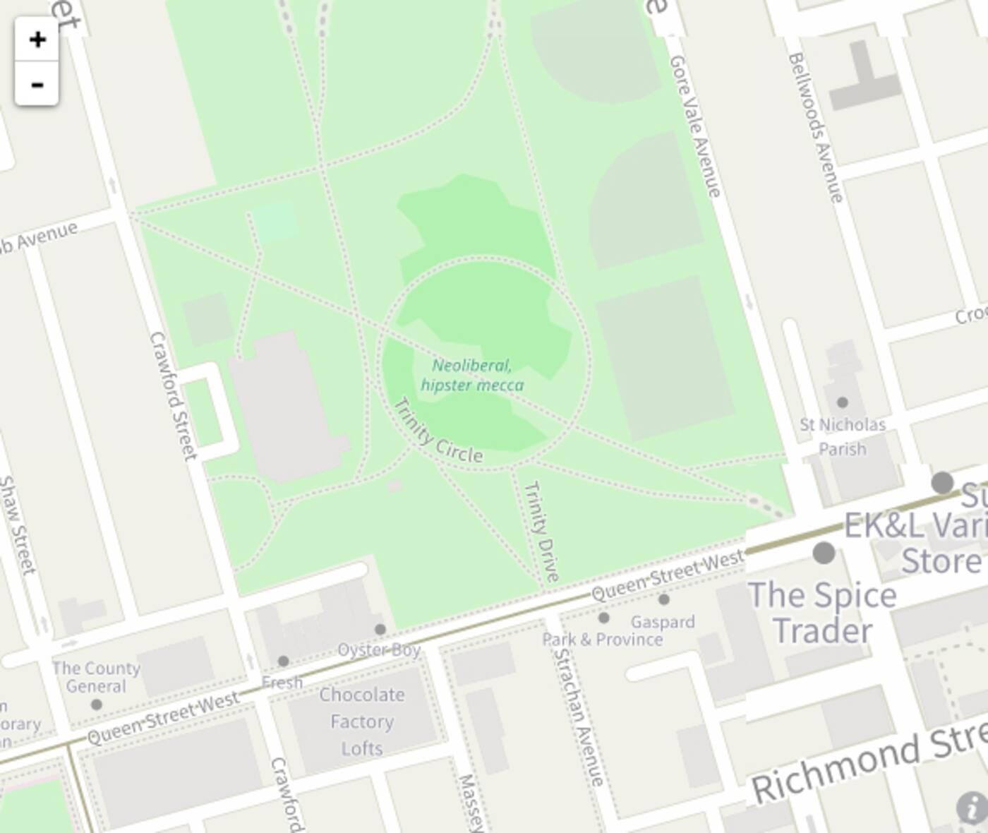 Trinity Bellwoods Map