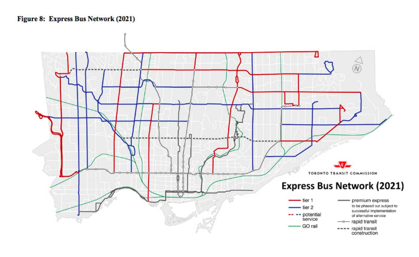 ttc express bus network
