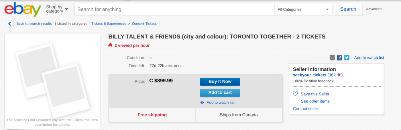 billy talent danforth tickets