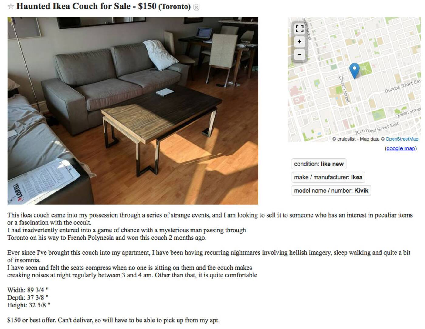 Haunted Ikea Couch