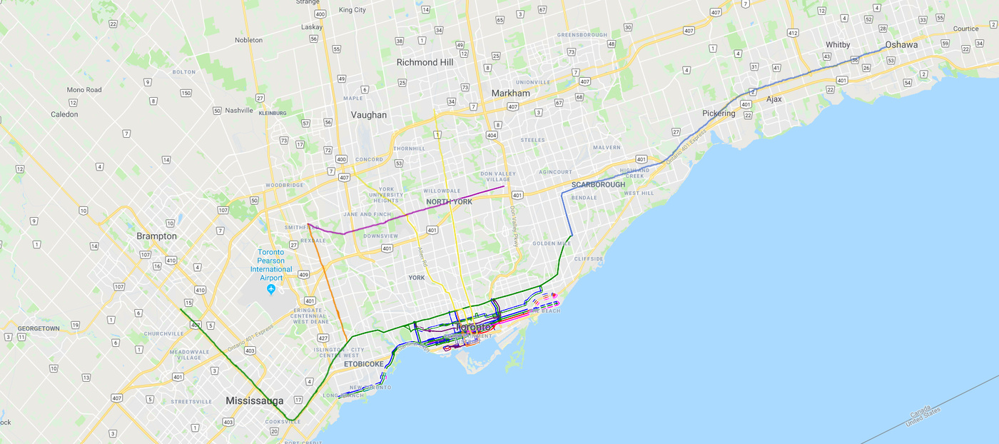 subway map ttc suburbs