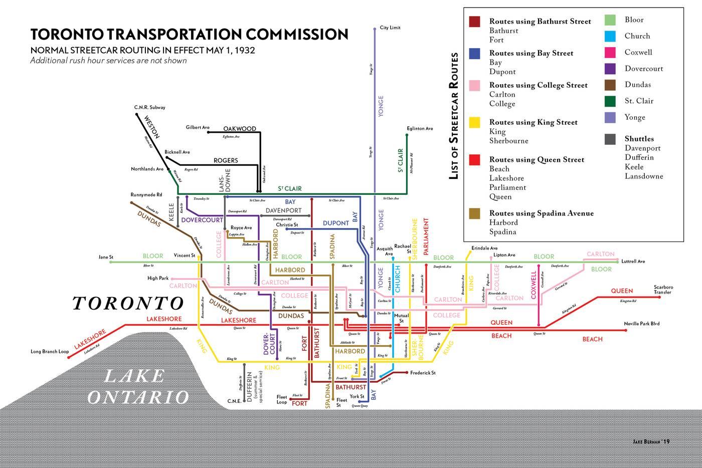 ttc streetcar map