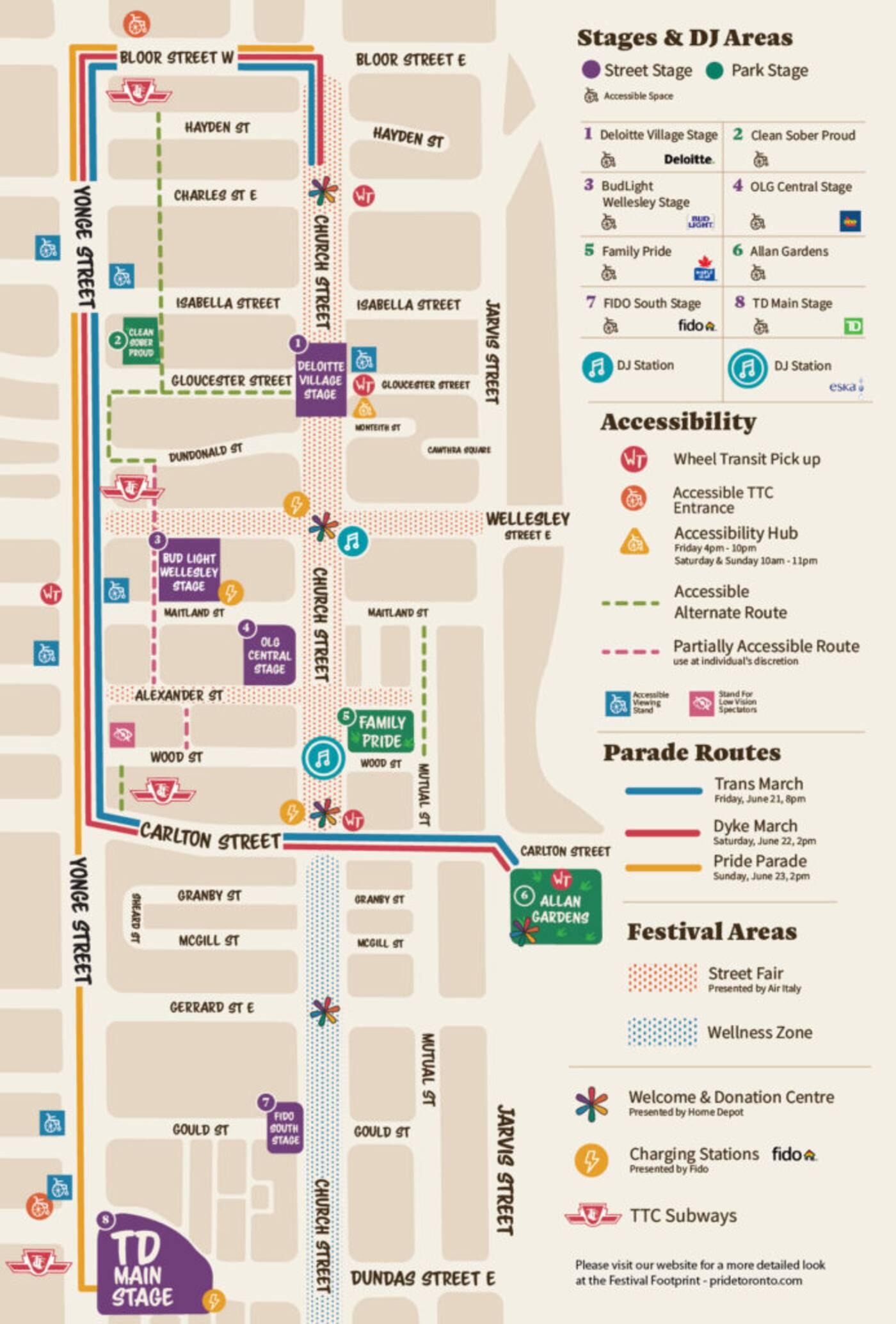 Toronto Pride Parade Map