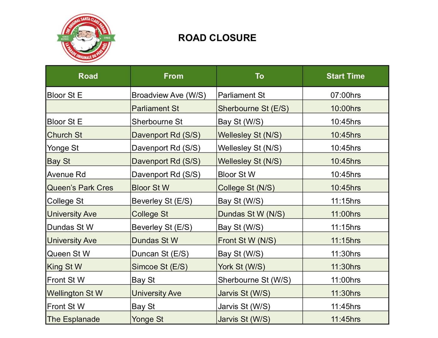 Road Closures Santa