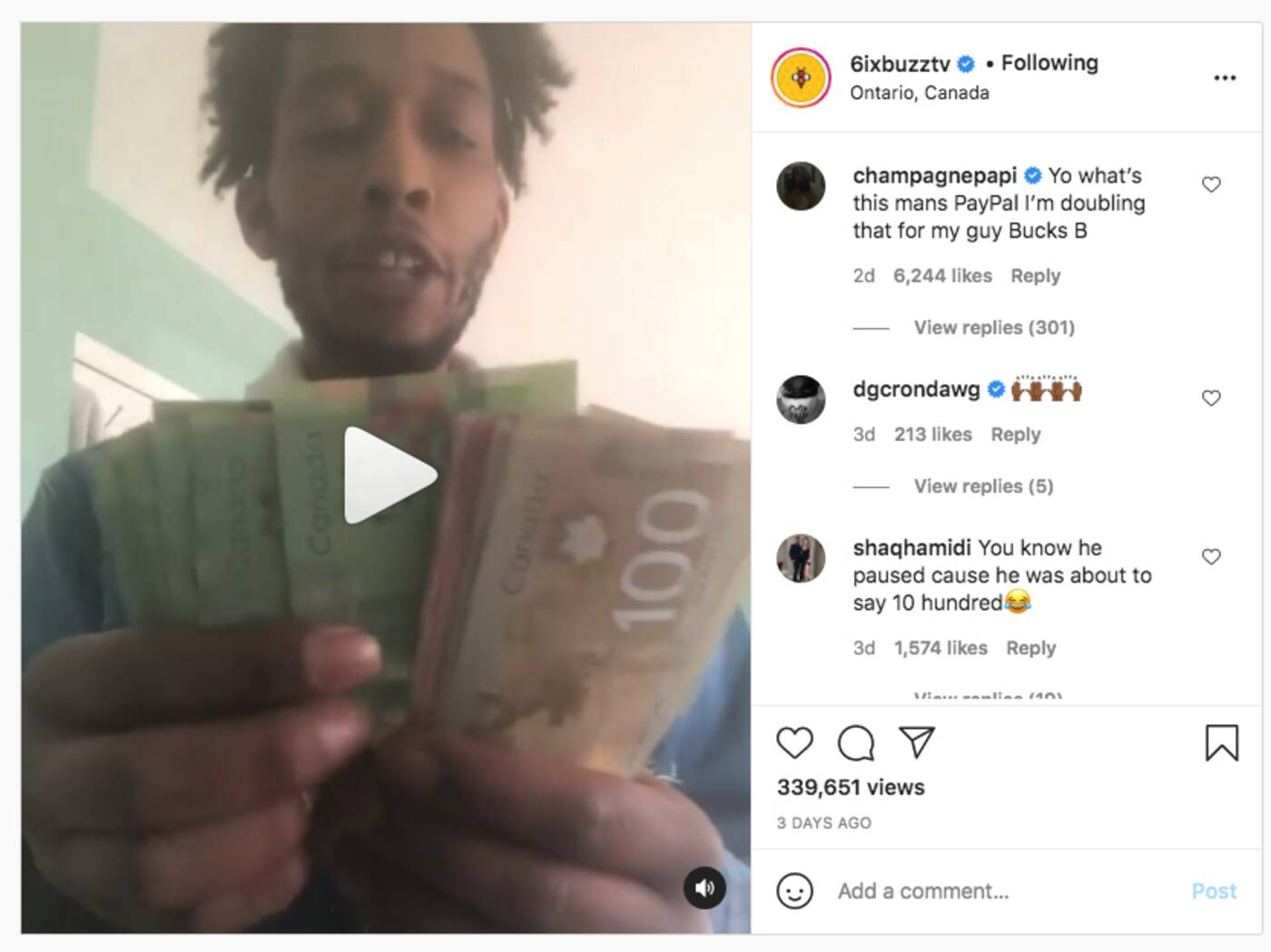 drake gives money to fan