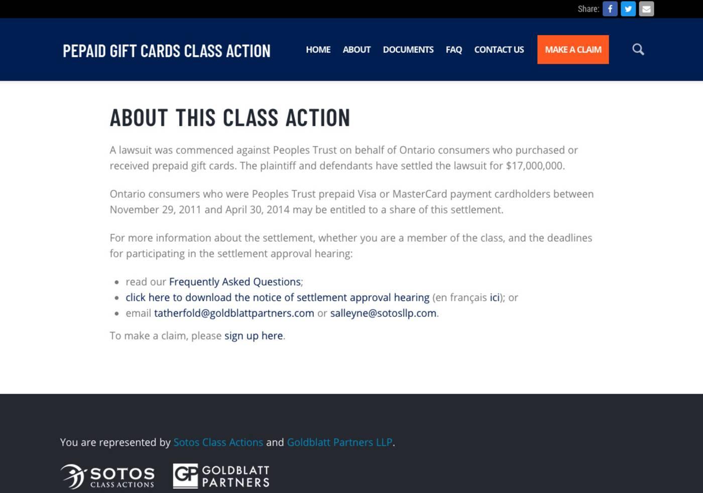 class action ontario
