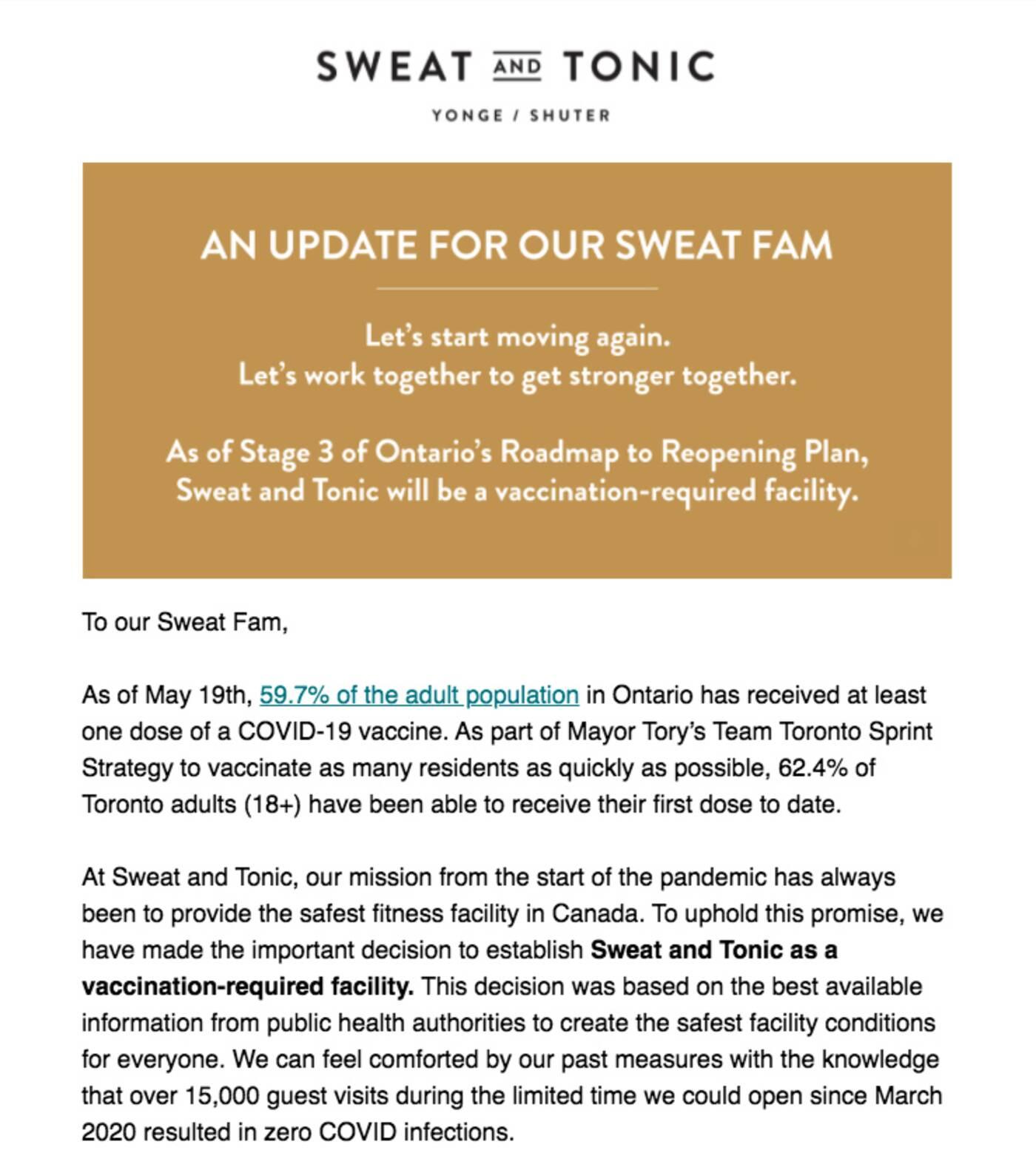 sweat and tonic